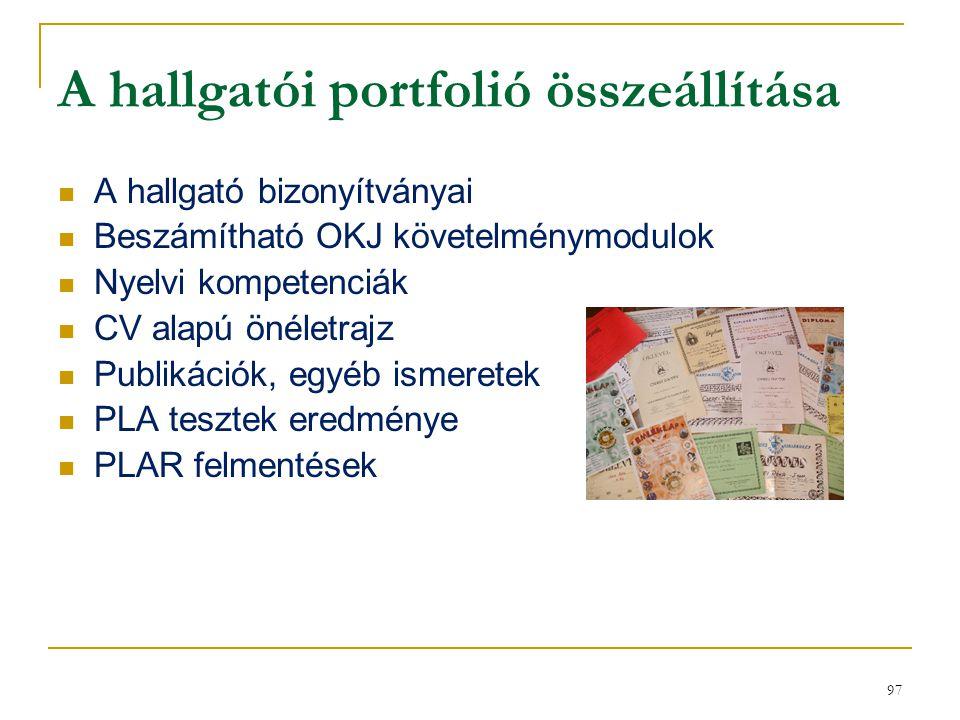 97 A hallgatói portfolió összeállítása A hallgató bizonyítványai Beszámítható OKJ követelménymodulok Nyelvi kompetenciák CV alapú önéletrajz Publikáci