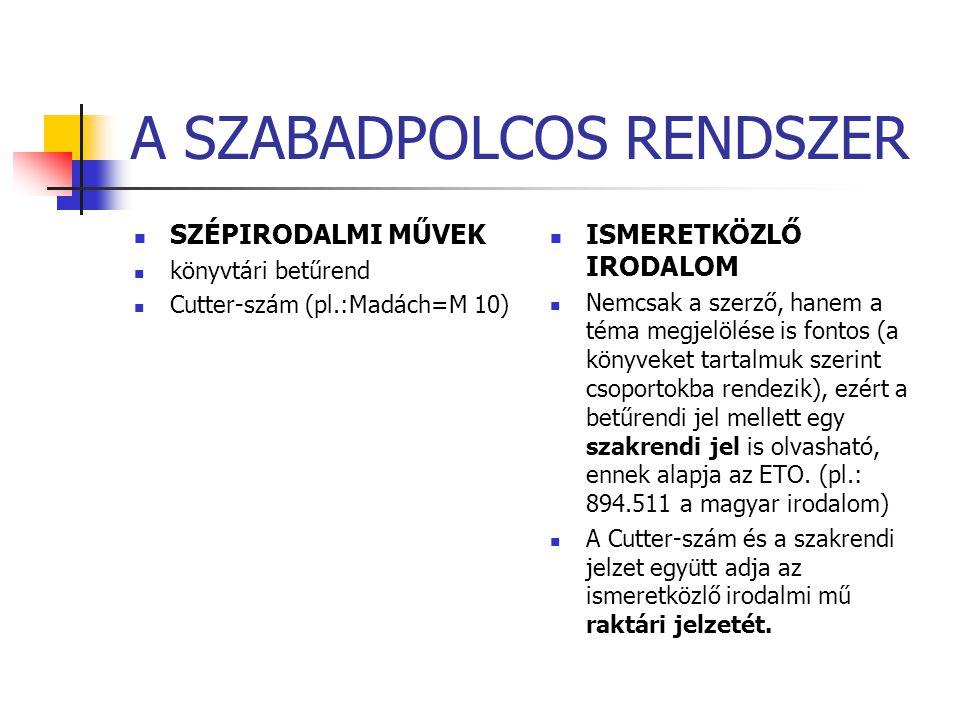 A SZABADPOLCOS RENDSZER SZÉPIRODALMI MŰVEK könyvtári betűrend Cutter-szám (pl.:Madách=M 10) ISMERETKÖZLŐ IRODALOM Nemcsak a szerző, hanem a téma megje
