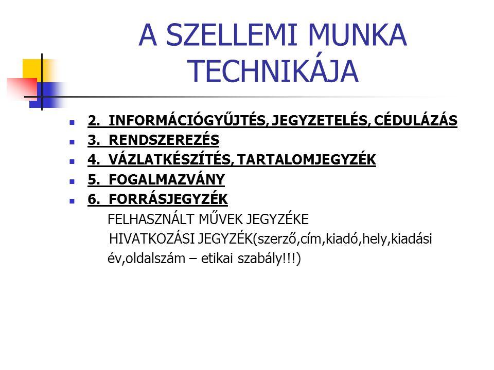 A SZELLEMI MUNKA TECHNIKÁJA 2. INFORMÁCIÓGYŰJTÉS, JEGYZETELÉS, CÉDULÁZÁS 3. RENDSZEREZÉS 4. VÁZLATKÉSZÍTÉS, TARTALOMJEGYZÉK 5. FOGALMAZVÁNY 6. FORRÁSJ