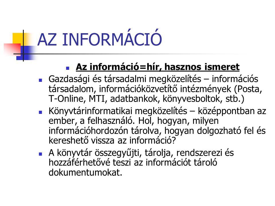 AZ INFORMÁCIÓ Az információ=hír, hasznos ismeret Gazdasági és társadalmi megközelítés – információs társadalom, információközvetítő intézmények (Posta