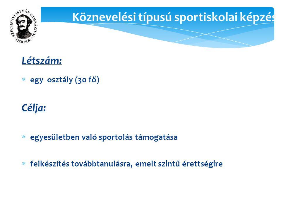 Köznevelési típusú sportiskolai képzés Létszám:  egy osztály (30 fő) Célja:  egyesületben való sportolás támogatása  felkészítés továbbtanulásra, emelt szintű érettségire