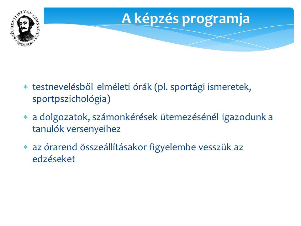 A képzés programja  testnevelésből elméleti órák (pl.