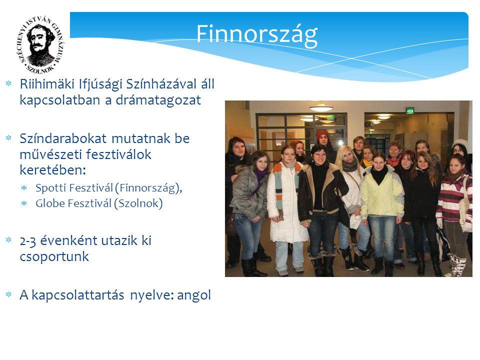 Finnország  Riihimäki Ifjúsági Színházával áll kapcsolatban a drámatagozat  Színdarabokat mutatnak be művészeti fesztiválok keretében:  Spotti Fesztivál (Finnország),  Globe Fesztivál (Szolnok)  2-3 évenként utazik ki csoportunk  A kapcsolattartás nyelve: angol
