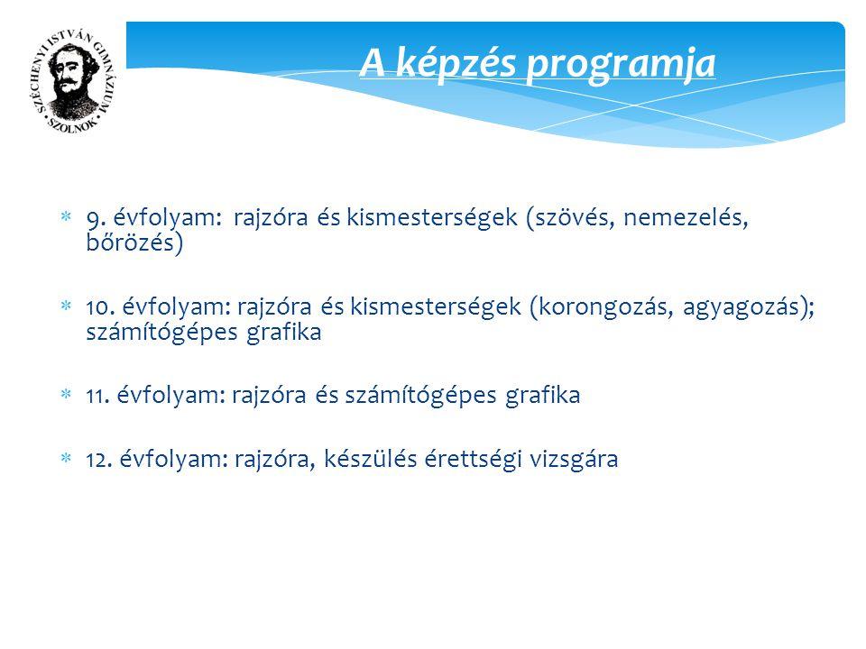 A képzés programja  9. évfolyam: rajzóra és kismesterségek (szövés, nemezelés, bőrözés)  10.