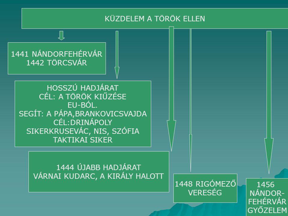 KÜZDELEM A TÖRÖK ELLEN 1441 NÁNDORFEHÉRVÁR 1442 TÖRCSVÁR HOSSZÚ HADJÁRAT CÉL: A TÖRÖK KIŰZÉSE EU-BÓL. SEGÍT: A PÁPA,BRANKOVICSVAJDA CÉL:DRINÁPOLY SIKE
