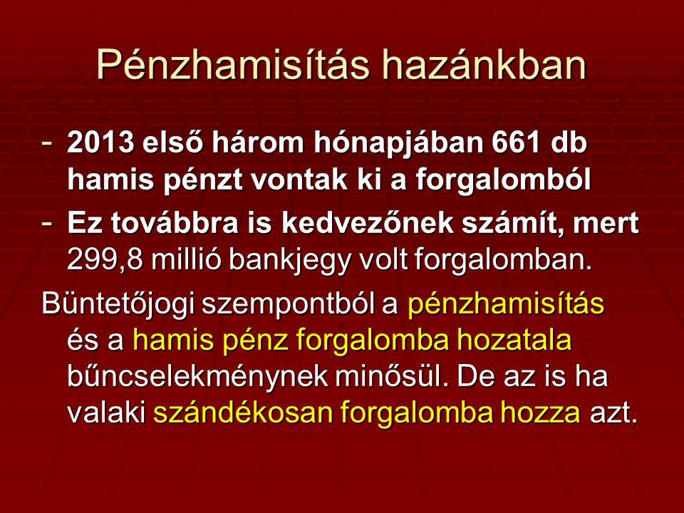 Pénzhamisítás hazánkban - 2013 első három hónapjában 661 db hamis pénzt vontak ki a forgalomból - Ez továbbra is kedvezőnek számít, mert 299,8 millió bankjegy volt forgalomban.