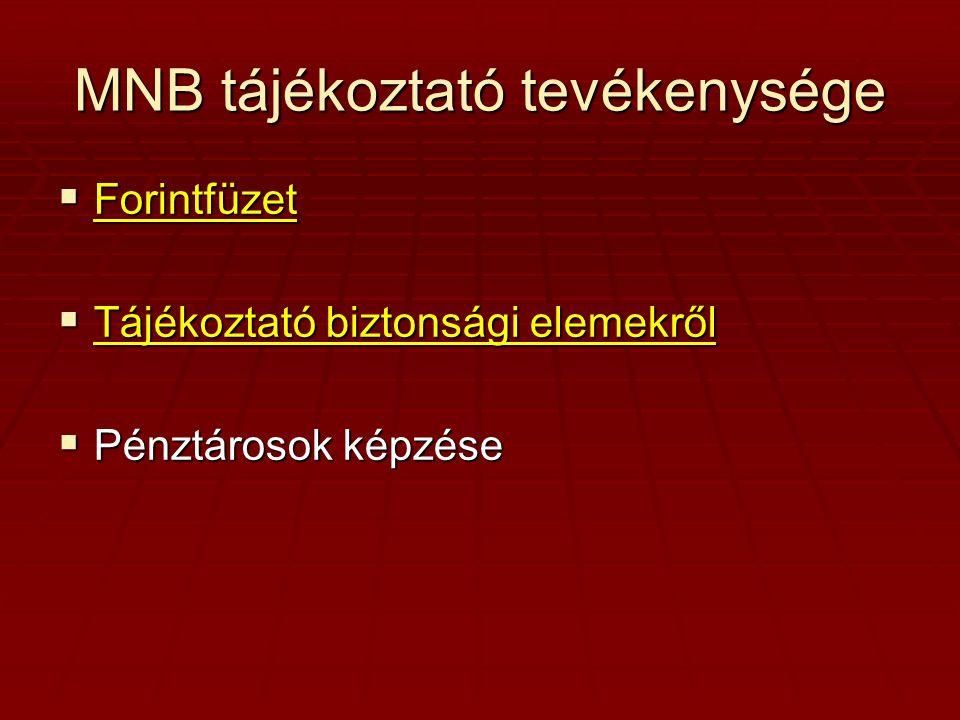 MNB tájékoztató tevékenysége  Forintfüzet Forintfüzet  Tájékoztató biztonsági elemekről Tájékoztató biztonsági elemekről Tájékoztató biztonsági elemekről  Pénztárosok képzése