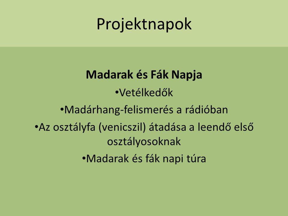 Projektnapok Madarak és Fák Napja Vetélkedők Madárhang-felismerés a rádióban Az osztályfa (venicszil) átadása a leendő első osztályosoknak Madarak és