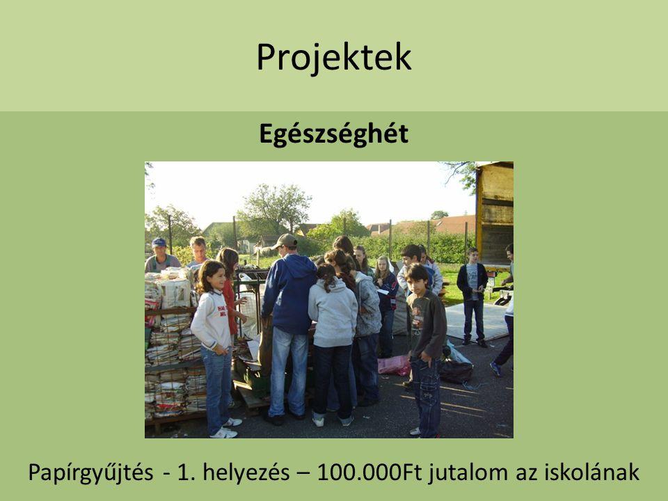 Projektek Egészséghét Papírgyűjtés - 1. helyezés – 100.000Ft jutalom az iskolának