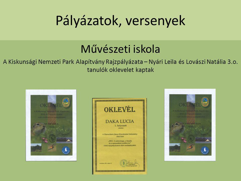 Pályázatok, versenyek Művészeti iskola A Kiskunsági Nemzeti Park Alapítvány Rajzpályázata – Nyári Leila és Lovászi Natália 3.o. tanulók oklevelet kapt