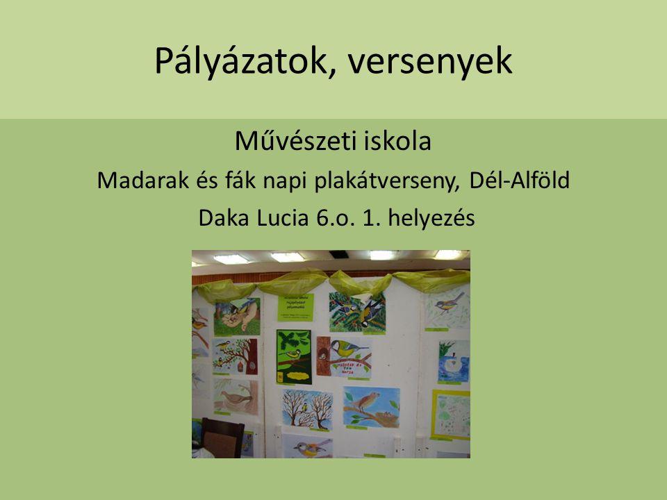 Pályázatok, versenyek Művészeti iskola Madarak és fák napi plakátverseny, Dél-Alföld Daka Lucia 6.o. 1. helyezés