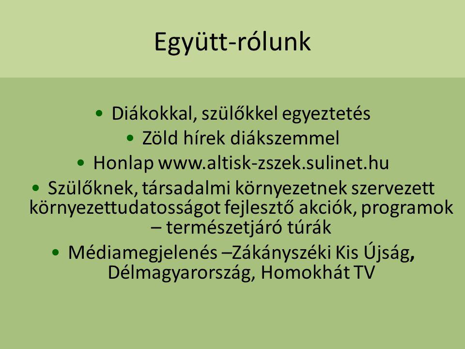 Együtt-rólunk Diákokkal, szülőkkel egyeztetés Zöld hírek diákszemmel Honlap www.altisk-zszek.sulinet.hu Szülőknek, társadalmi környezetnek szervezett