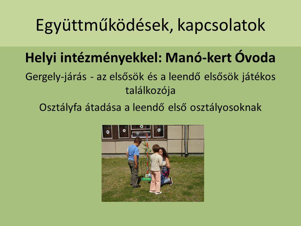 Együttműködések, kapcsolatok Helyi intézményekkel: Manó-kert Óvoda Gergely-járás - az elsősök és a leendő elsősök játékos találkozója Osztályfa átadás