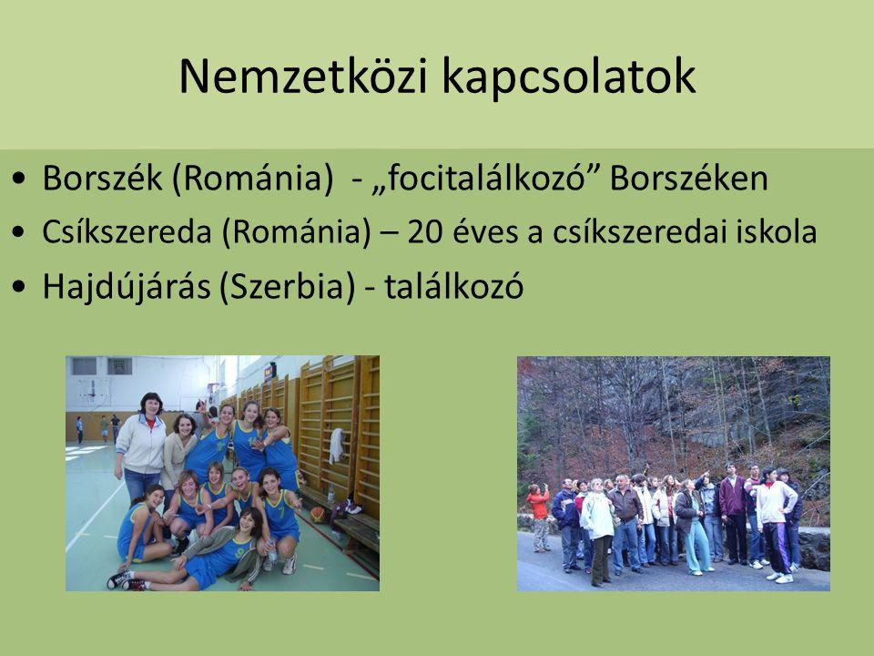 """Nemzetközi kapcsolatok Borszék (Románia) - """"focitalálkozó"""" Borszéken Csíkszereda (Románia) – 20 éves a csíkszeredai iskola Hajdújárás (Szerbia) - talá"""