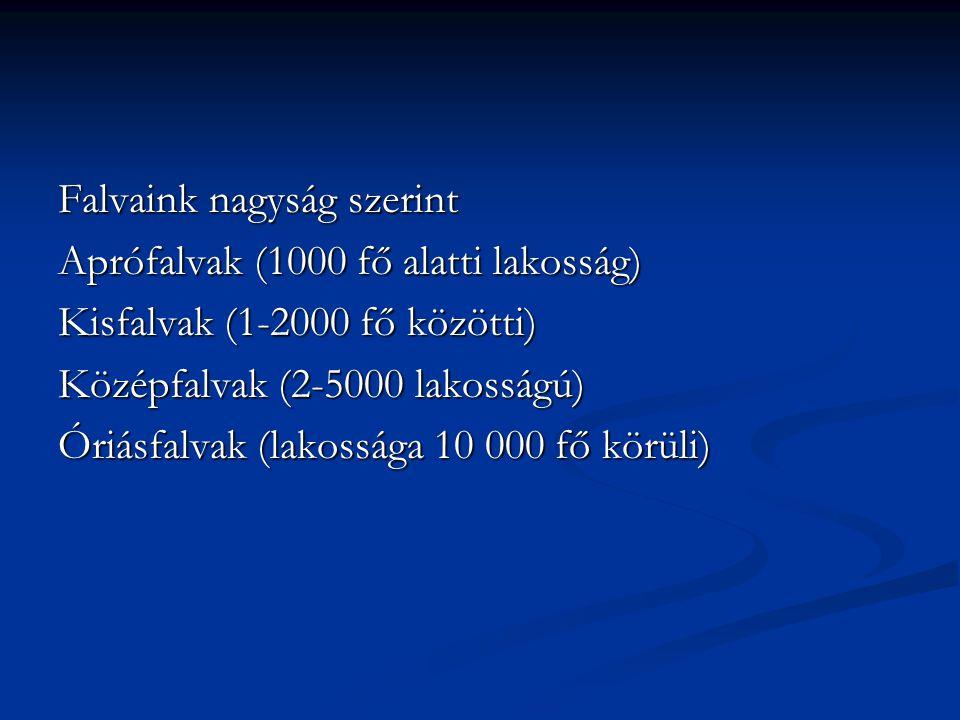 Falvaink nagyság szerint Aprófalvak (1000 fő alatti lakosság) Kisfalvak (1-2000 fő közötti) Középfalvak (2-5000 lakosságú) Óriásfalvak (lakossága 10 0