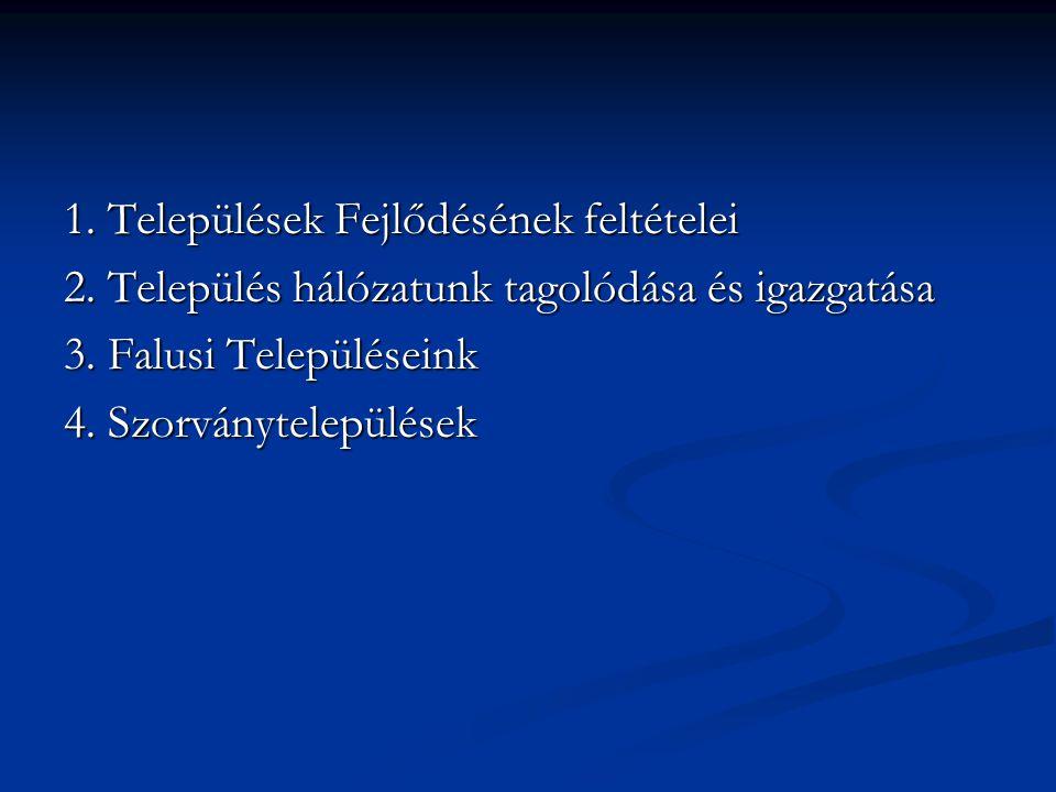 1.Települések Fejlődésének feltételei 2.Település hálózatunk tagolódása és igazgatása 3.Falusi Településeink 4.Szorványtelepülések