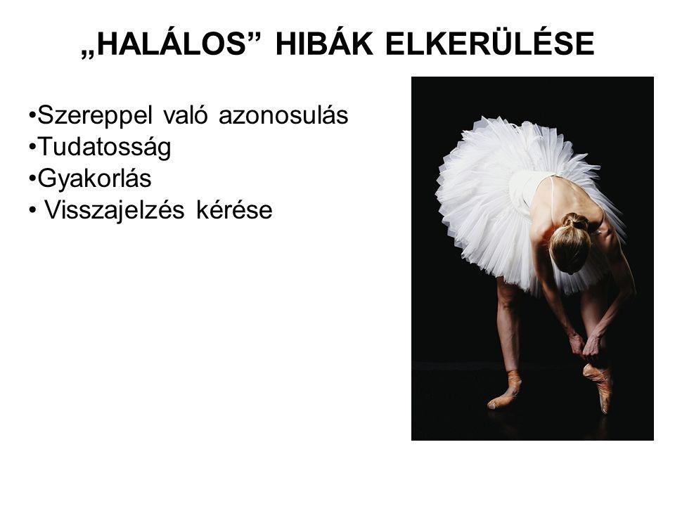 """""""HALÁLOS"""" HIBÁK ELKERÜLÉSE Szereppel való azonosulás Tudatosság Gyakorlás Visszajelzés kérése"""