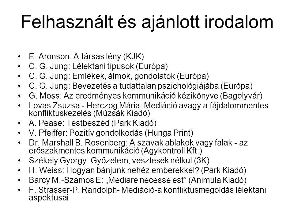 Felhasznált és ajánlott irodalom E.Aronson: A társas lény (KJK) C.