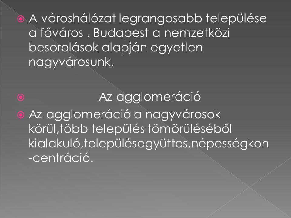 Kisvárosok: 25 ezer fő alatti lakosság Pl.:Kőszeg,Hajdúszoboszló Középvárosok::megyeszékhelyek,valamint 25-50 ezer fős települések Pl.:Vác,Gyula Nagyvárosok:gazdasága,felsőfokú oktatási intézményeik,egészségügyi és egyéb szolgáltatásaik több megyére kisugároznak.(Debrecen,Szeged)