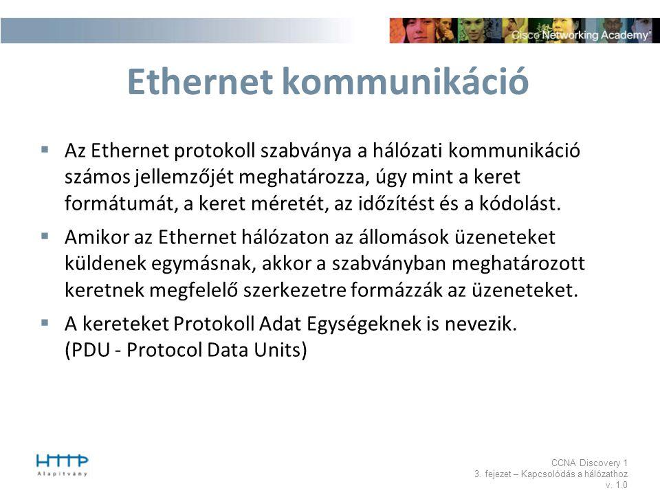 CCNA Discovery 1 3. fejezet – Kapcsolódás a hálózathoz v. 1.0 Ethernet kommunikáció  Az Ethernet protokoll szabványa a hálózati kommunikáció számos j