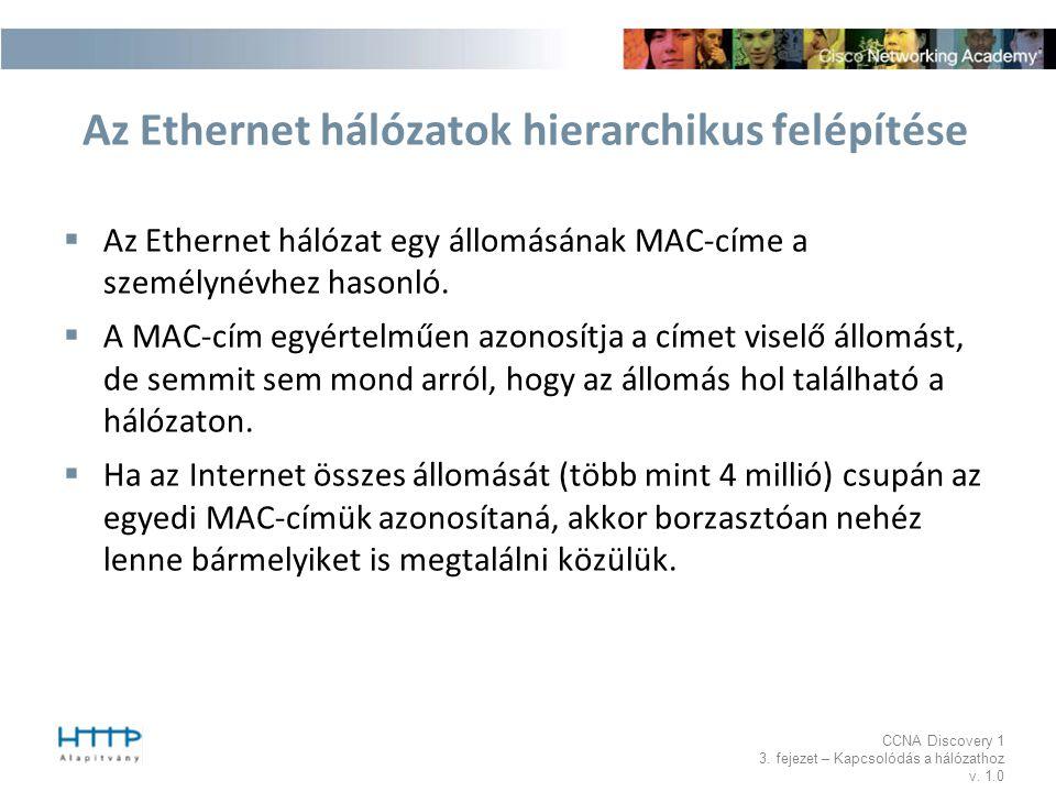 CCNA Discovery 1 3. fejezet – Kapcsolódás a hálózathoz v. 1.0 Az Ethernet hálózatok hierarchikus felépítése  Az Ethernet hálózat egy állomásának MAC-