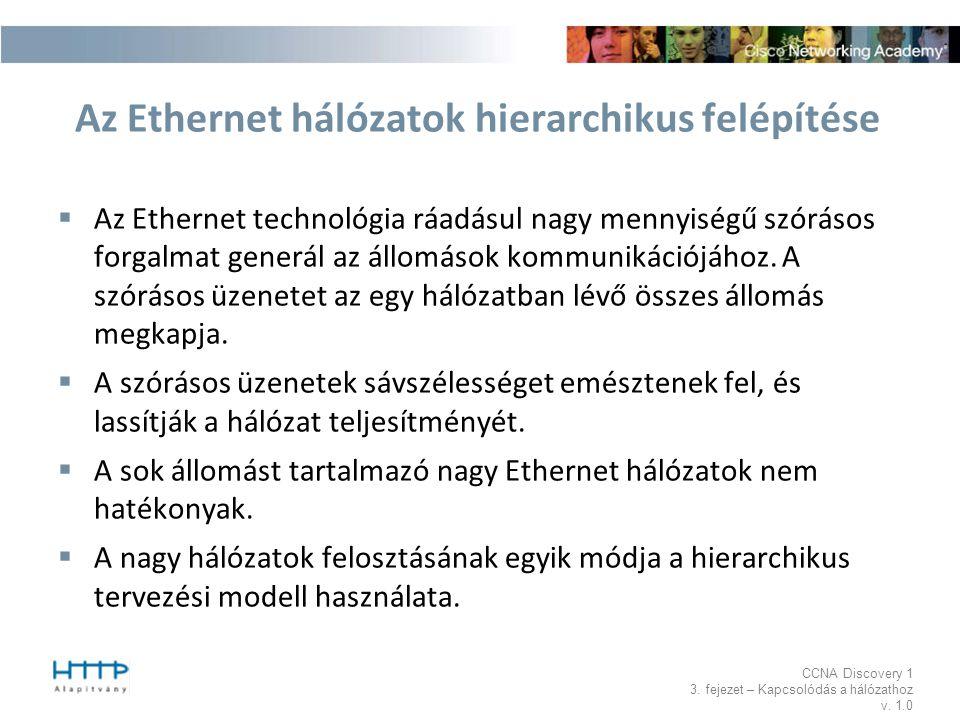 CCNA Discovery 1 3. fejezet – Kapcsolódás a hálózathoz v. 1.0 Az Ethernet hálózatok hierarchikus felépítése  Az Ethernet technológia ráadásul nagy me