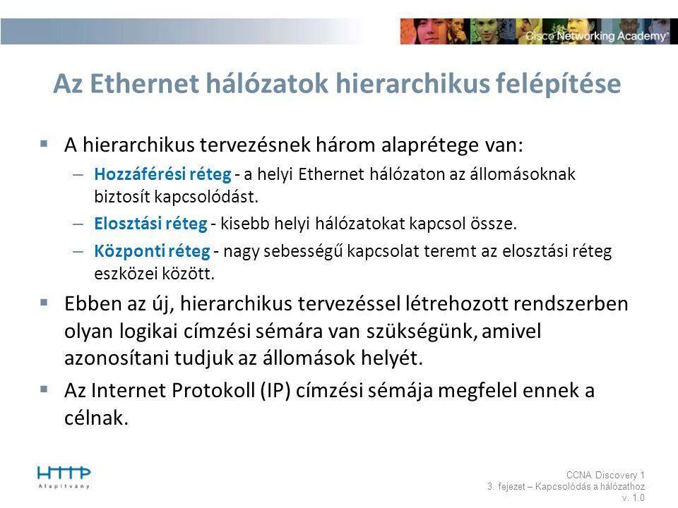CCNA Discovery 1 3. fejezet – Kapcsolódás a hálózathoz v. 1.0 Az Ethernet hálózatok hierarchikus felépítése  A hierarchikus tervezésnek három alaprét