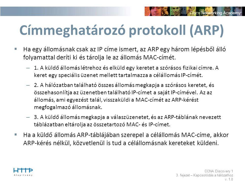 CCNA Discovery 1 3. fejezet – Kapcsolódás a hálózathoz v. 1.0 Címmeghatározó protokoll (ARP)  Ha egy állomásnak csak az IP címe ismert, az ARP egy há