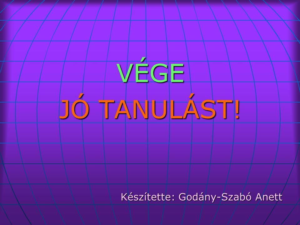 VÉGE JÓ TANULÁST! Készítette: Godány-Szabó Anett