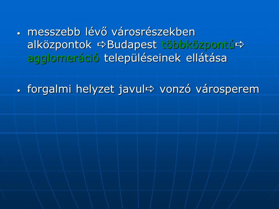 messzebb lévő városrészekben alközpontok Budapest többközpontú agglomeráció településeinek ellátása forgalmi helyzet javul vonzó városperem