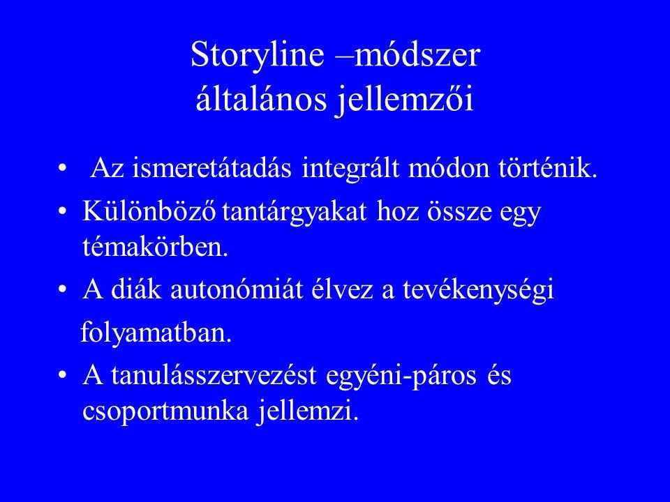 Storyline –módszer általános jellemzői Az ismeretátadás integrált módon történik. Különböző tantárgyakat hoz össze egy témakörben. A diák autonómiát é