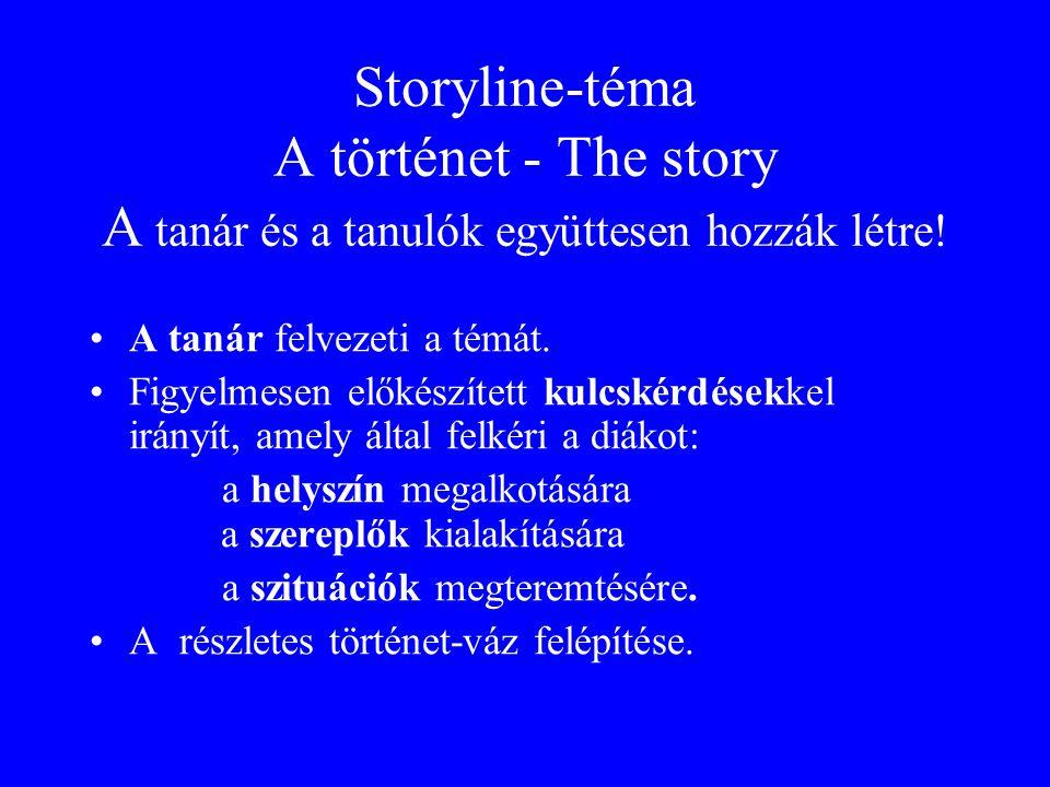 Storyline-téma A történet - The story A tanár és a tanulók együttesen hozzák létre! A tanár felvezeti a témát. Figyelmesen előkészített kulcskérdésekk