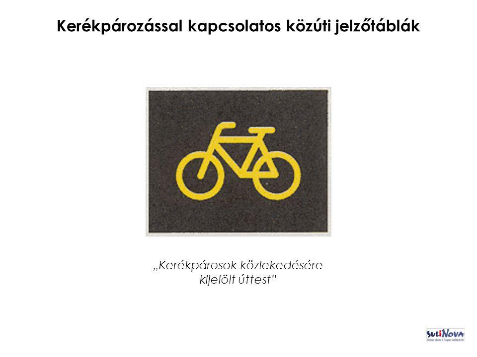 """Kerékpározással kapcsolatos közúti jelzőtáblák """"Kerékpárosok közlekedésére kijelölt úttest"""
