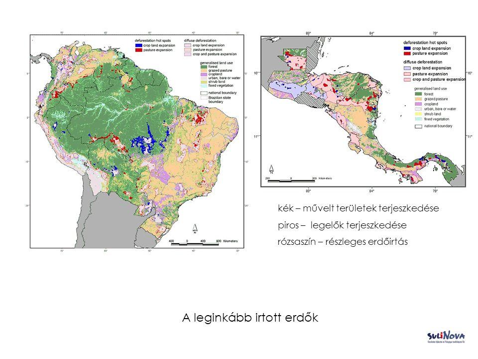 A leginkább irtott erdők kék – művelt területek terjeszkedése piros – legelők terjeszkedése rózsaszín – részleges erdőirtás