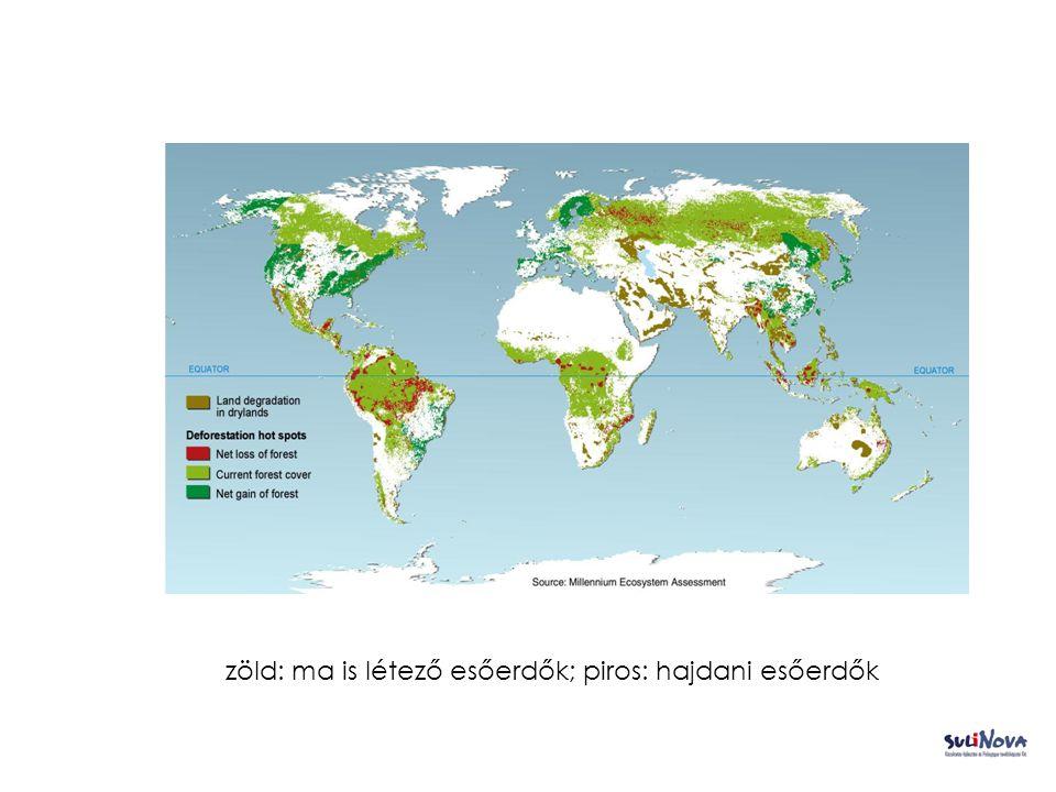 zöld: ma is létező esőerdők; piros: hajdani esőerdők