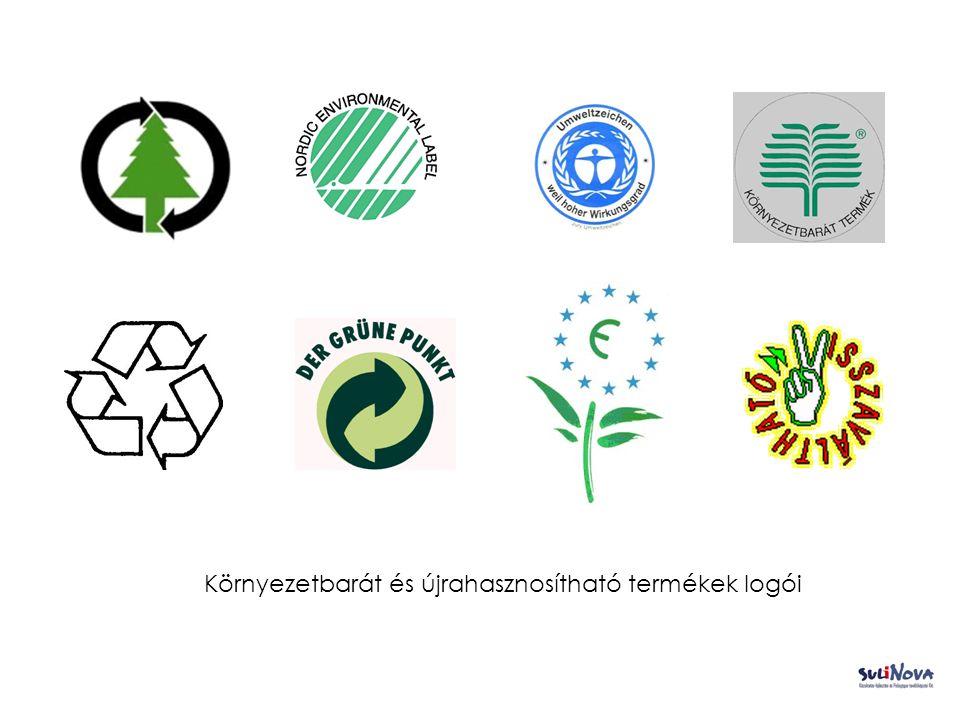 Környezetbarát és újrahasznosítható termékek logói