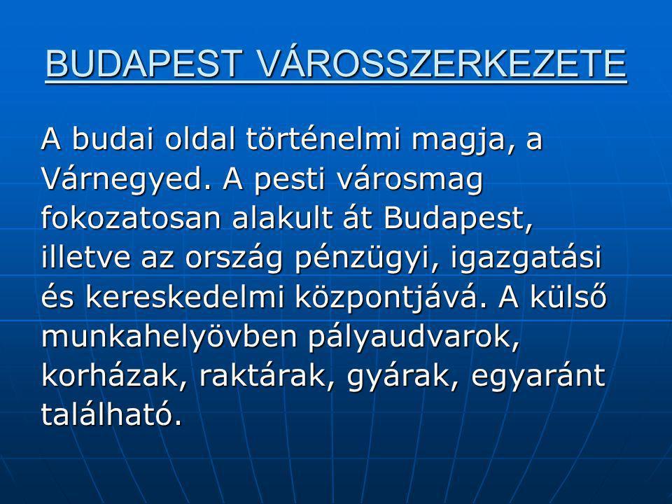BUDAPEST VÁROSSZERKEZETE A budai oldal történelmi magja, a Várnegyed. A pesti városmag fokozatosan alakult át Budapest, illetve az ország pénzügyi, ig