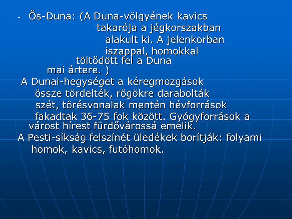 - Ős-Duna: (A Duna-völgyének kavics takarója a jégkorszakban takarója a jégkorszakban alakult ki. A jelenkorban iszappal, homokkal töltődött fel a Dun