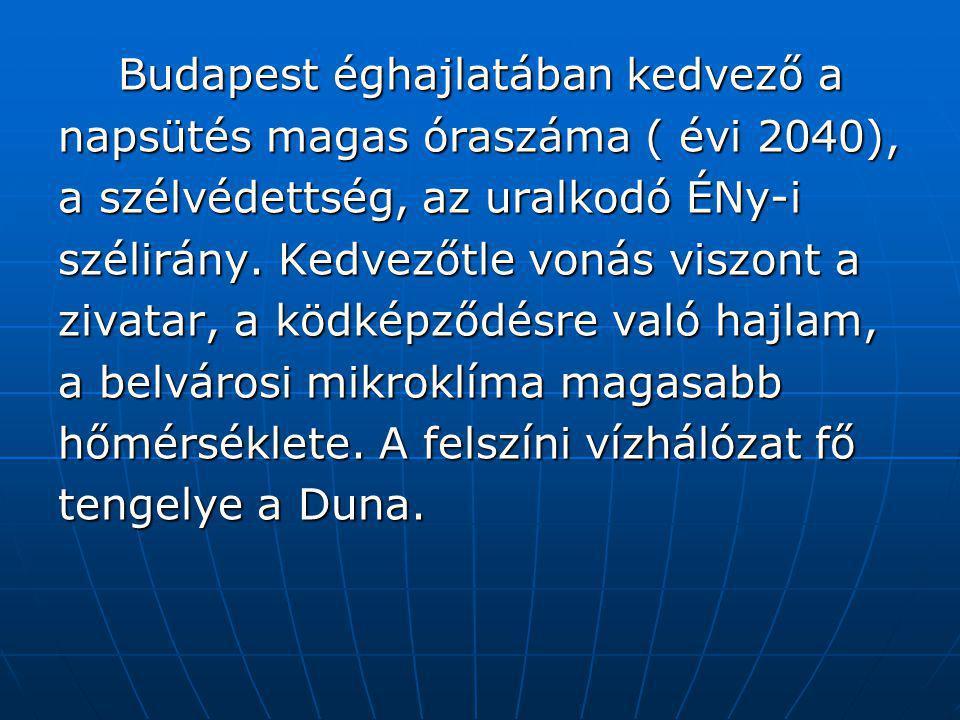Budapest éghajlatában kedvező a Budapest éghajlatában kedvező a napsütés magas óraszáma ( évi 2040), a szélvédettség, az uralkodó ÉNy-i szélirány. Ked