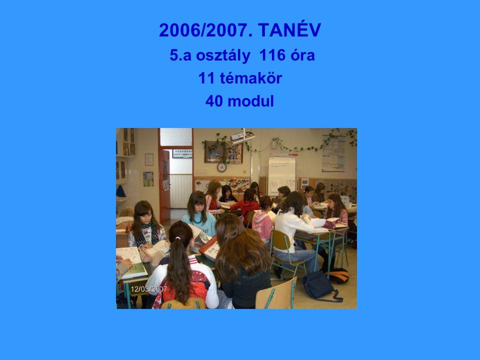 2006/2007. TANÉV 5.a osztály 116 óra 11 témakör 40 modul