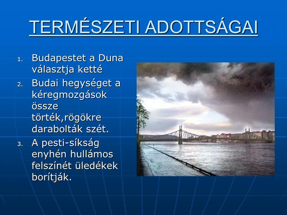 TERMÉSZETI ADOTTSÁGAI 1. Budapestet a Duna választja ketté 2. Budai hegységet a kéregmozgások össze törték,rögökre darabolták szét. 3. A pesti-síkság