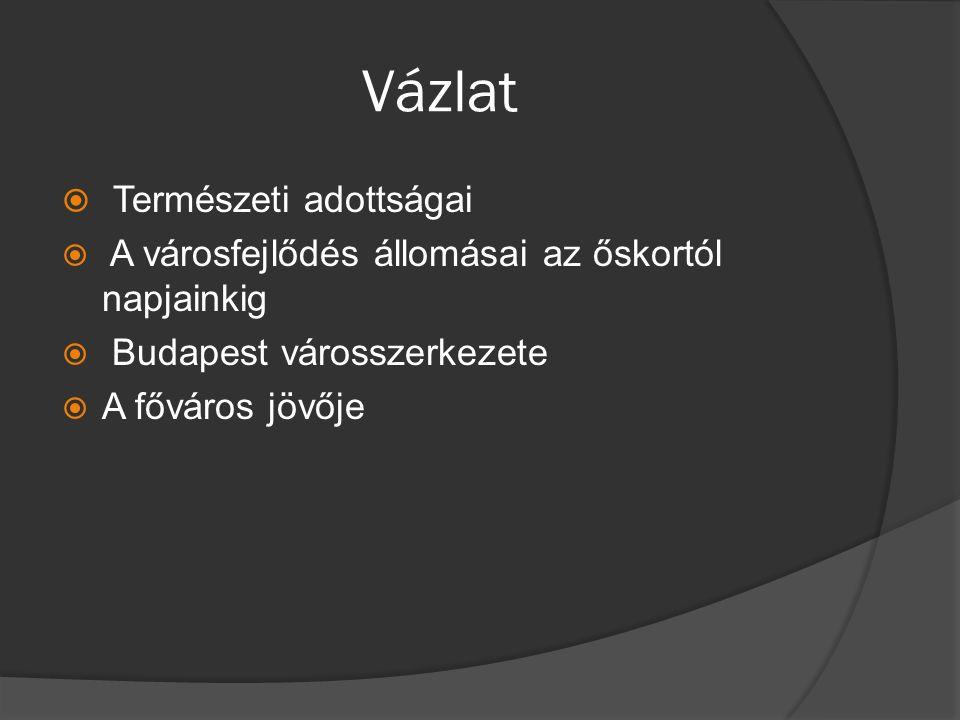 Vázlat  Természeti adottságai  A városfejlődés állomásai az őskortól napjainkig  Budapest városszerkezete  A főváros jövője