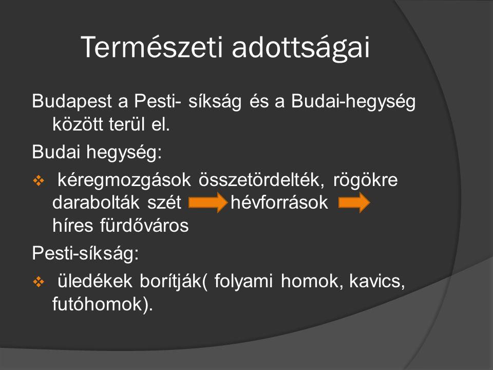 Természeti adottságai Budapest éghajlata:  Kedvező:  Sok a napsütéses órák száma  Szélvédettség  Uralkodó szélirány az ÉNy-i  Kedvezőtlen:  Zivatarra, ködképződésre való hajlam  Mikroklíma magasabb hőmérséklete
