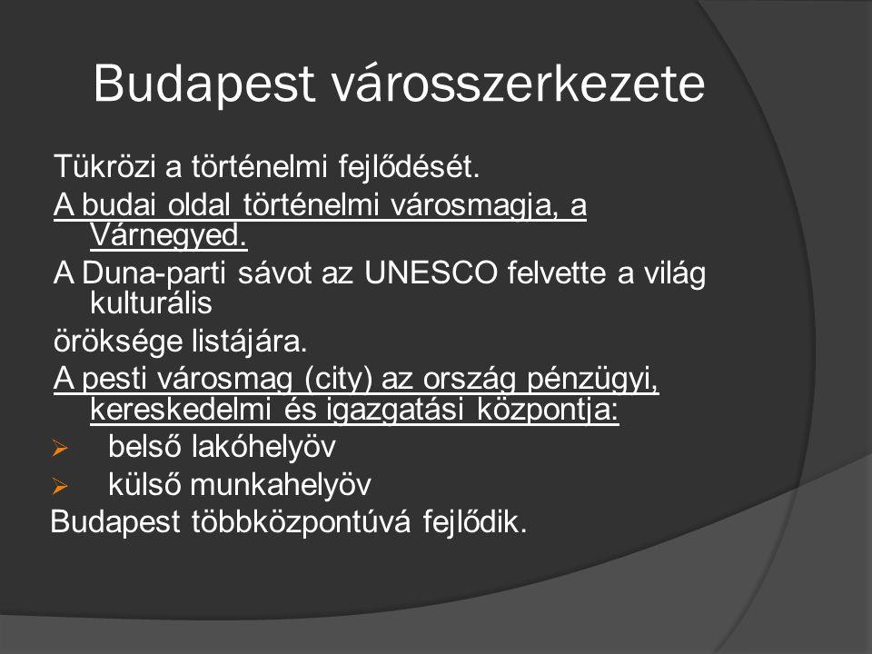 Budapest városszerkezete Tükrözi a történelmi fejlődését. A budai oldal történelmi városmagja, a Várnegyed. A Duna-parti sávot az UNESCO felvette a vi
