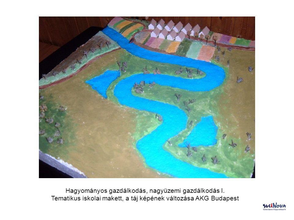 Hagyományos gazdálkodás, nagyüzemi gazdálkodás I. Tematikus iskolai makett, a táj képének változása AKG Budapest