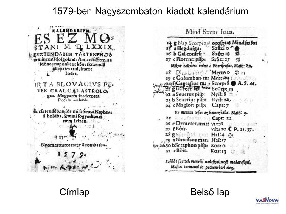 1579-ben Nagyszombaton kiadott kalendárium CímlapBelső lap