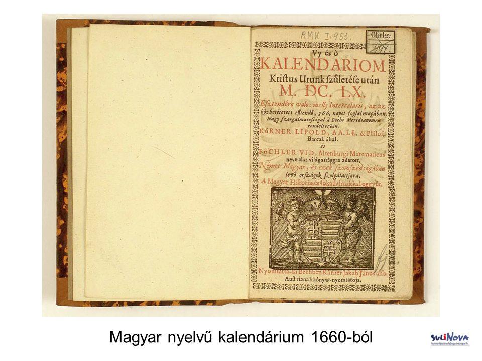 Magyar nyelvű kalendárium 1660-ból