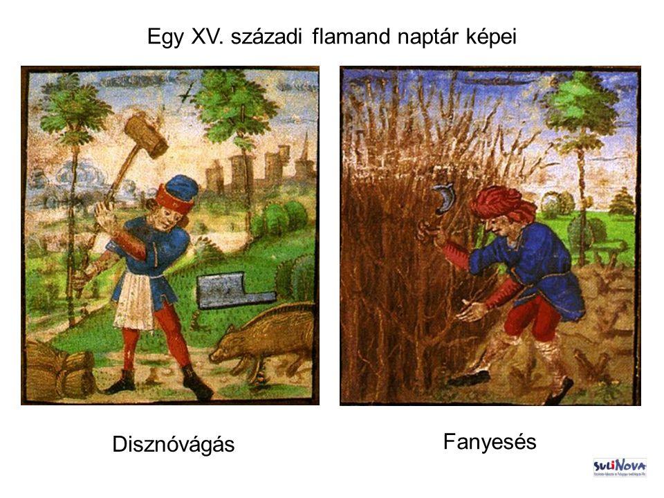 Egy XV. századi flamand naptár képei Disznóvágás Fanyesés
