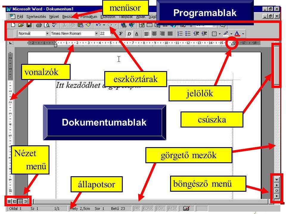 A felhasználói felület Dokumentumablak Programablak vonalzók eszköztárak állapotsor böngésző menü menüsor jelölők Nézet menü görgető mezők csúszka