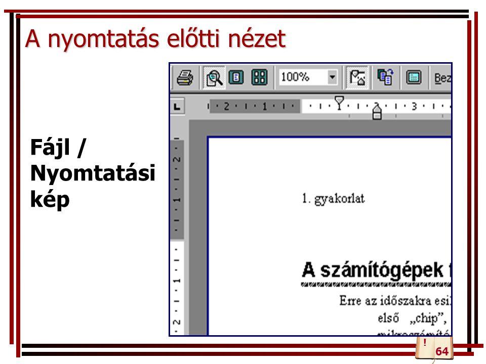 A nyomtatás előtti nézet Fájl / Nyomtatási kép 64 !